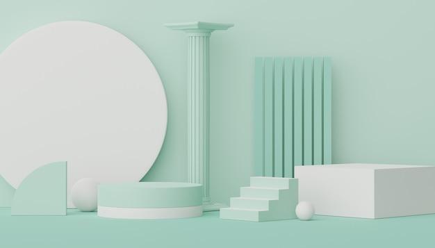 Pedestal de palco de plataformas vazias 3d e fachada de loja para simulação de espaço em branco para exibição de produtos