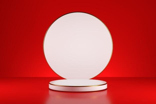 Pedestal de palco de produtos de cilindros brancos em um fundo vermelho. renderização 3d