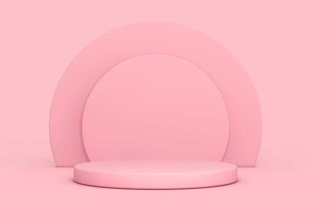 Pedestal de palco de produtos de cilindros rosa em um fundo rosa. renderização 3d