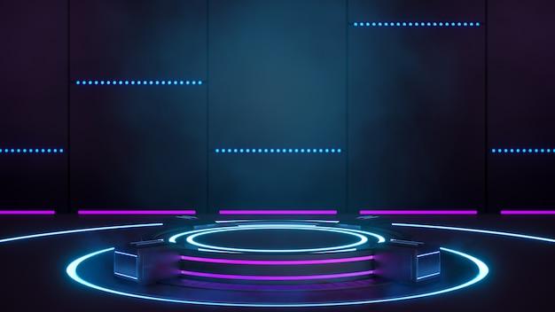 Pedestal de plataforma em branco de tecnologia futurística de ficção científica para apresentação de produtos