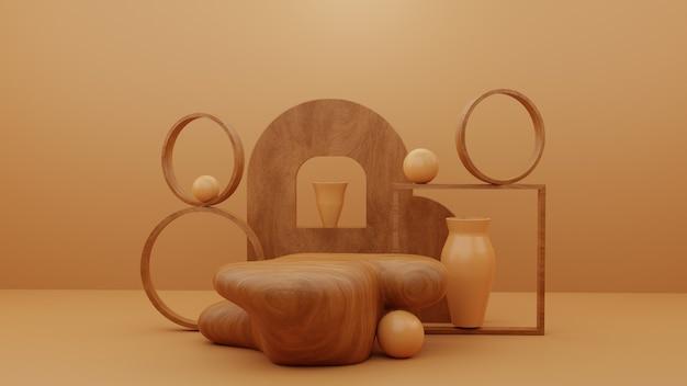 Pedestal de pódio de madeira abstrata com objetos abstratos