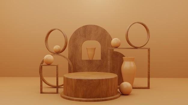 Pedestal de pódio de madeira com objetos abstratos
