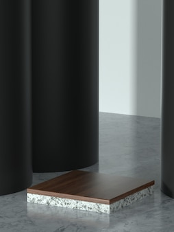 Pedestal de produto de ilustração 3d para promo ou banner com guarda-sol.