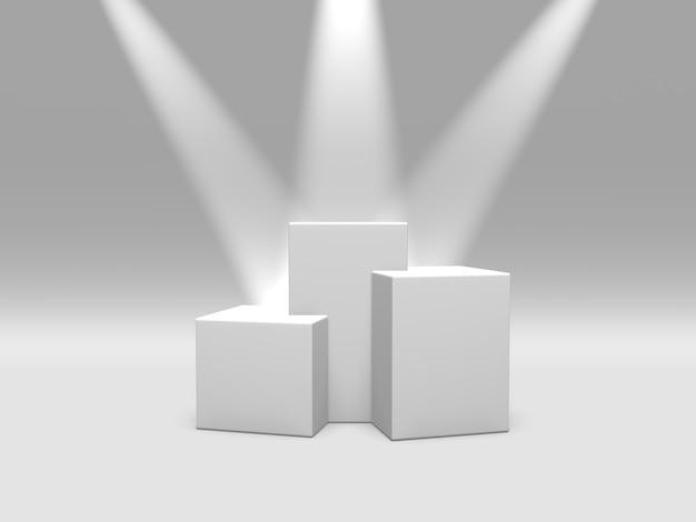 Pedestal do pódio ou plataforma branca cor iluminada por holofotes sobre fundo branco renderização em 3d