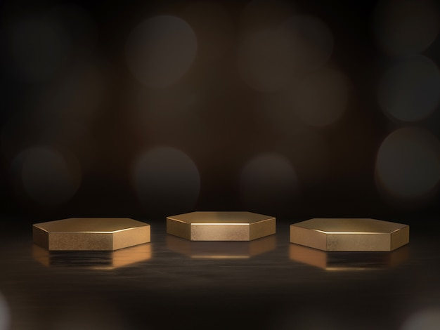 Pedestal dourado para exibição, plataforma de design, carrinho de produto em branco com bokeh de fundo. renderização em 3d.