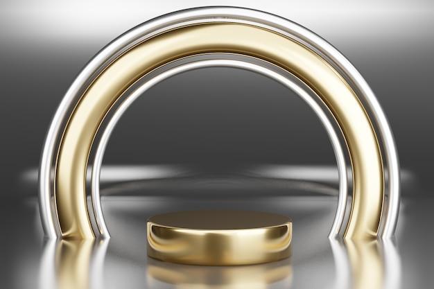 Pedestal em branco com moldura redonda de ouro, renderização em 3d