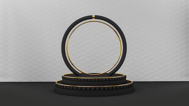 Pedestal em estilo art deco preto com formas em círculo preto e dourado