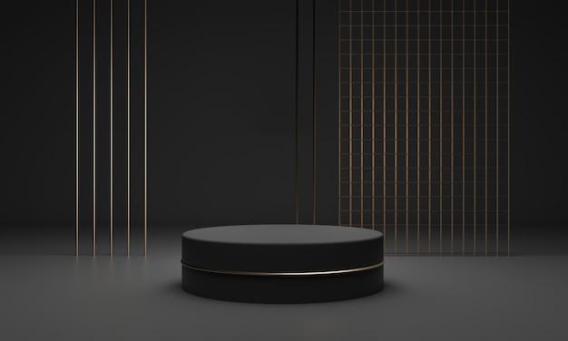 Pedestal fosco escuro com design de decoração de glitter dourado
