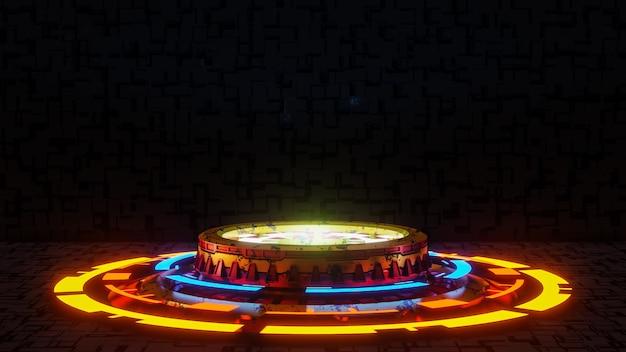 Pedestal futurista para apresentação de produtos no futuro negro.
