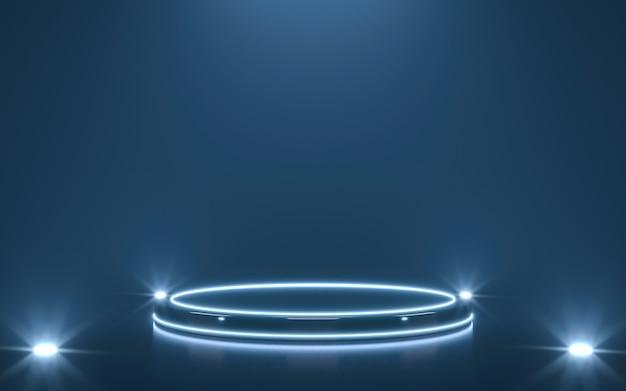 Pedestal futurista para exibição. pódio em branco para o produto. renderização 3d
