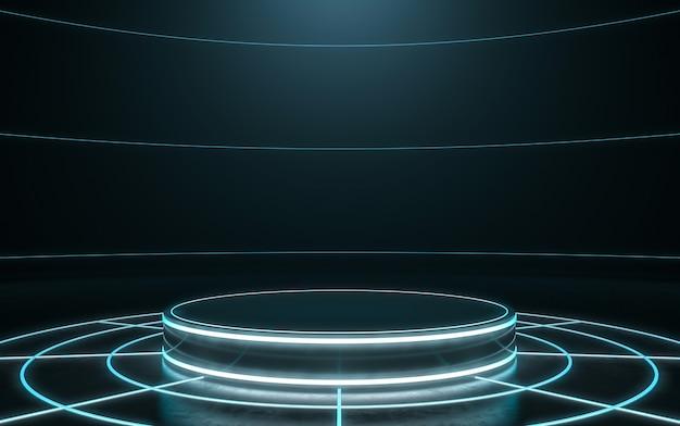 Pedestal futurista para exibição. pódio em branco para o produto. renderização em 3d