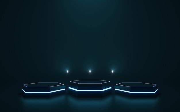 Pedestal futurista para exibição pódio em branco para o produto. renderização em 3d