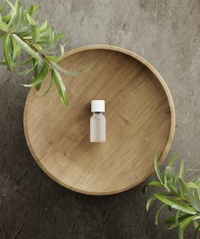 Pedestal para apresentação de produtos cosméticos naturais, cilindros de pedra e madeira com folhas de plantas d ilustração