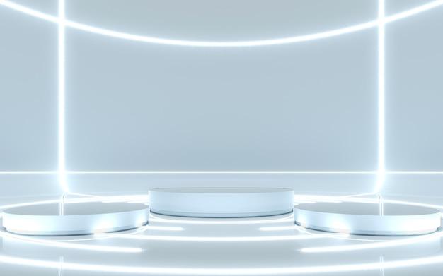 Pedestal para exibição com brilho de luz. renderização em 3d