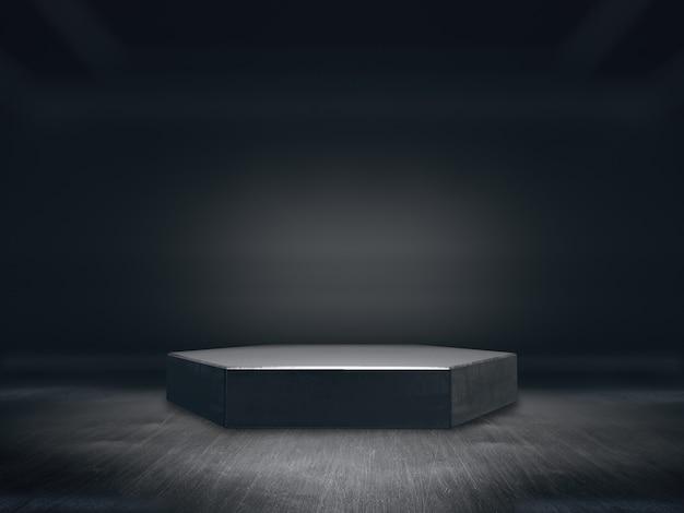 Pedestal para exibição, plataforma de design, suporte de produto em branco, fundo do longo corredor. renderização em 3d.