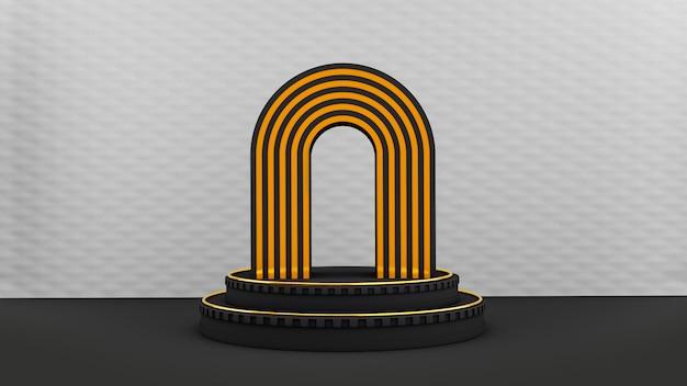 Pedestal preto art deco com formas em arcos preto e dourado