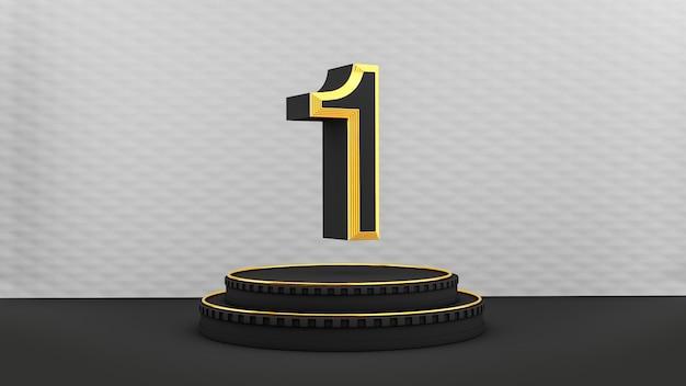 Pedestal preto art deco com número um