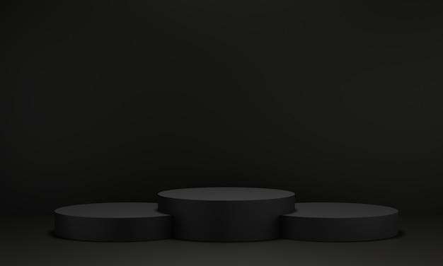 Pedestal preto para exibição. suporte de produto vazio com forma geométrica. 3d rendem.