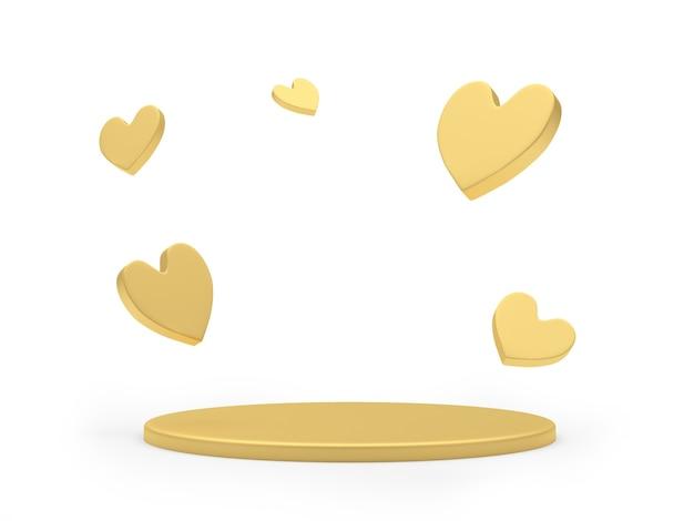 Pedestal redondo dourado vazio ou palco com corações ao redor