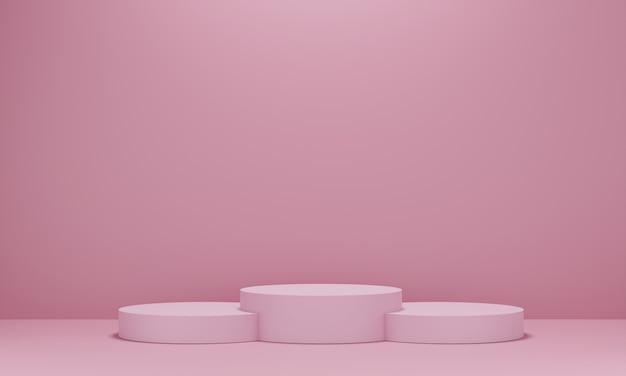 Pedestal rosa para exibição. suporte de produto vazio com forma geométrica. 3d rendem.