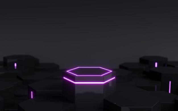 Pedestal scifi hexagonal preto futurista com luz neon roxa para exibição de produtos