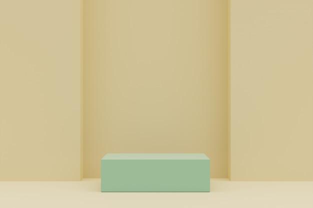 Pedestal verde para exibição. suporte de produto vazio com forma geométrica. 3d rendem.