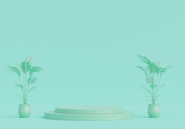 Pedestal verde pastel para exibição. suporte de produto vazio com forma geométrica. 3d rendem.