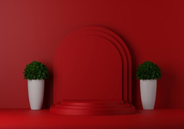 Pedestal vermelho para exibição com árvore. suporte de produto vazio com forma geométrica. 3d rendem.