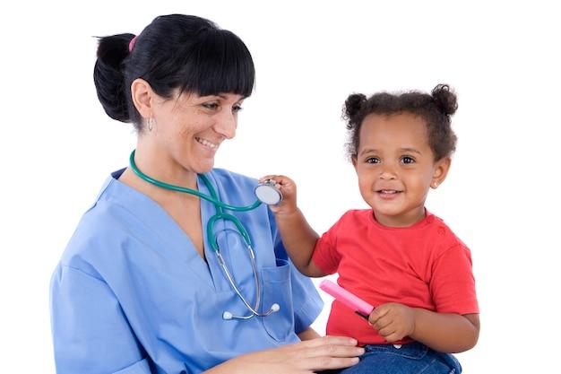 Pediatra, com, um, bonito, menina bebê, em, dela, colo
