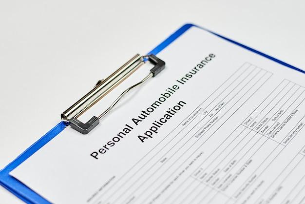 Pedido de seguro automóvel pessoal
