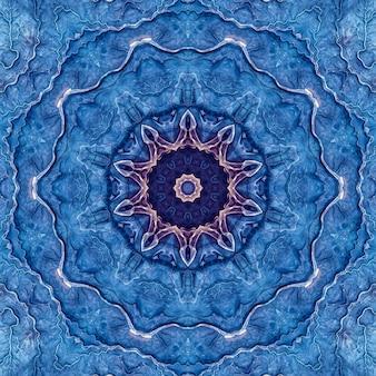 Pedra ágata, lápis-lazúli, mineral azul, mármore marinho aquarela, padrão de repetição de corte geométrico. ilustração de um fundo redondo de textura de pedra