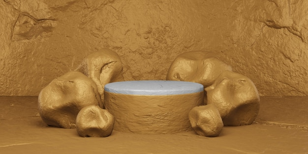 Pedra dourada com pódio para exposição. apresentação do produto, renderização em 3d