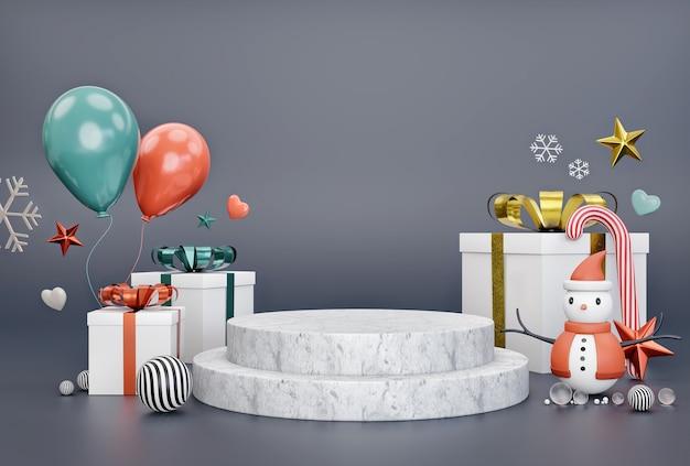 Pedra geométrica com caixa de presente para a véspera de natal