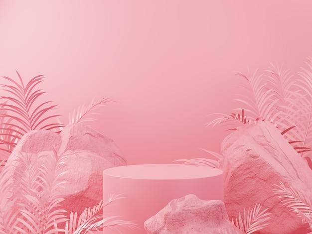 Pedra geométrica cor-de-rosa e exibição de pódio de maquete minimalista