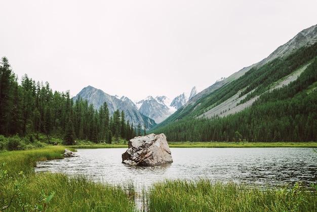 Pedra grande no lago pequeno da montanha com superfície brilhante entre vegetações ricas contra maravilhosas montanhas nevadas. rock na água. neve limpa no cume. incrível paisagem atmosférica da natureza das montanhas.