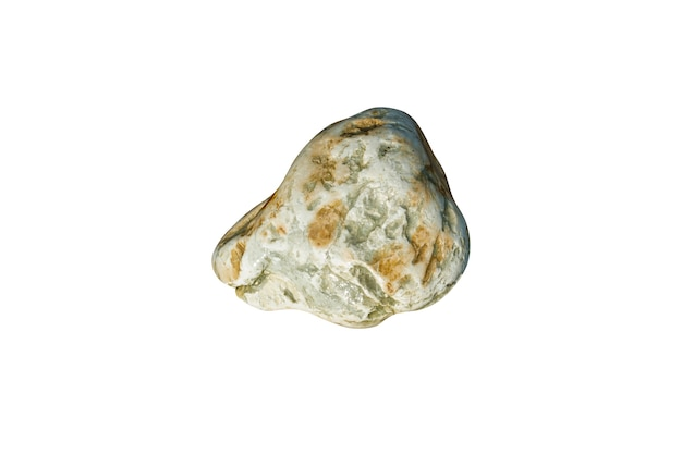 Pedra natural do mar isolada no fundo branco. seixo para design. foto de alta qualidade