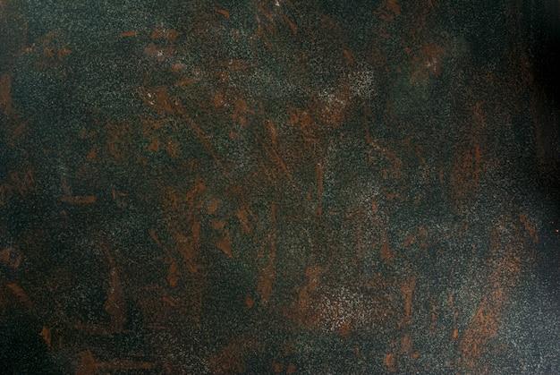 Pedra ou concreto verde velho enferrujado, parede, vista de mesa