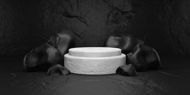 Pedra preta com pódio branco para exibição.