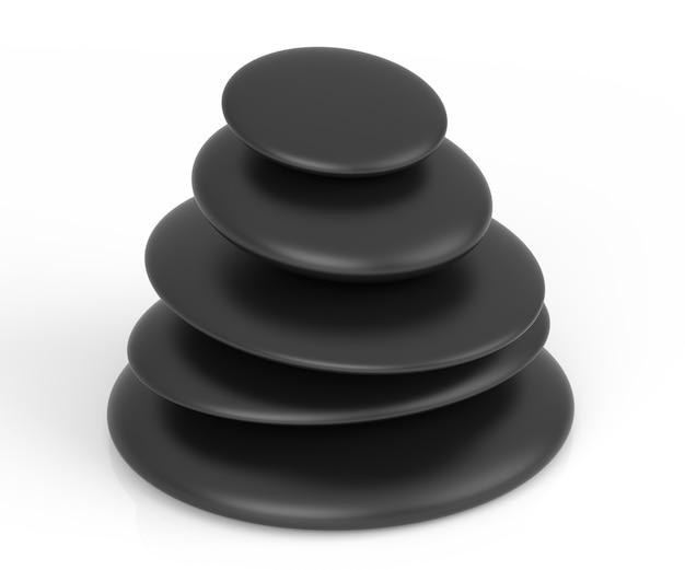 Pedras de massagem pretas empilhadas sobre fundo branco. renderização 3d