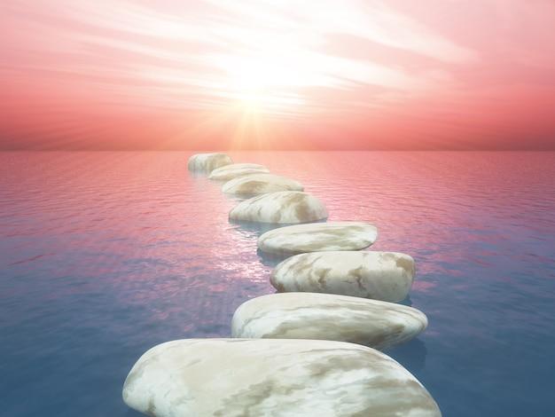 Pedras de piso 3d no oceano contra o céu do sol