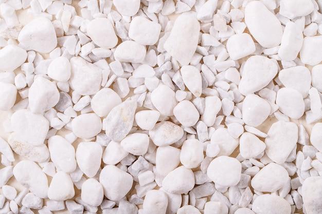 Pedras decorativas brancas e seixos sobre fundo branco de textura. layout criativo da natureza