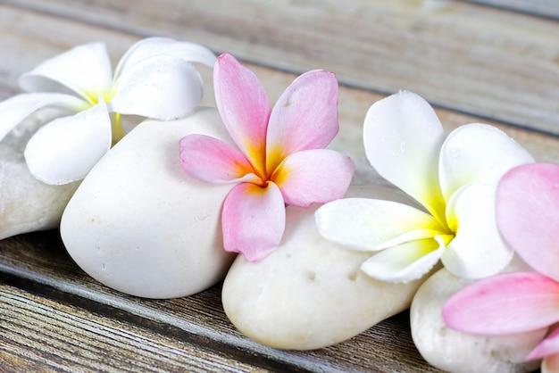 Pedras e flores sobre o fundo de madeira