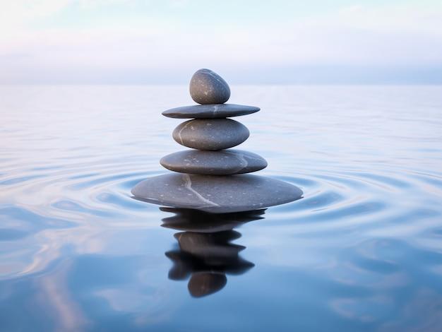 Pedras zen equilibradas na água
