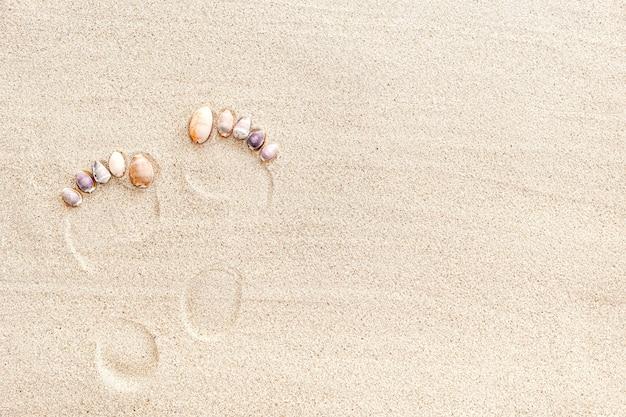 Pegada de homem nu na areia com conchas, vista de cima, espaço de cópia