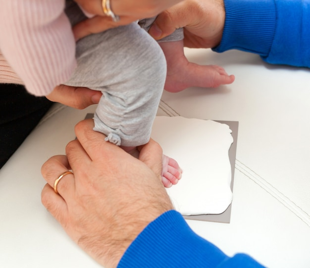 Pegada de um recém-nascido