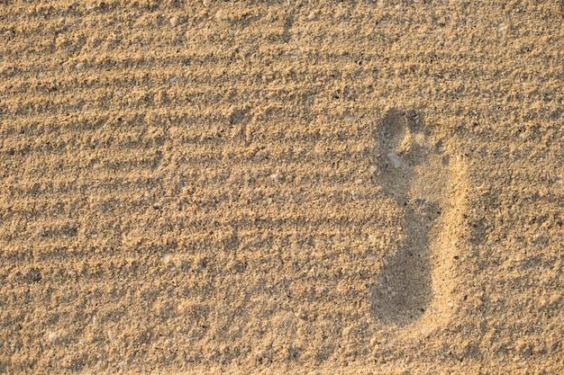 Pegada na areia seca e forrada de areia. lugar para texto