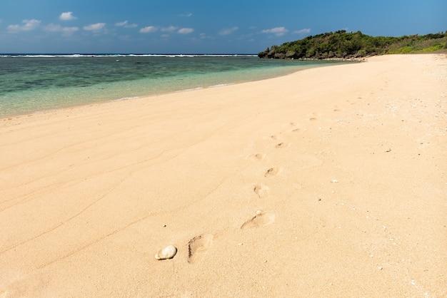 Pegadas de uma pessoa na areia de uma praia paradisíaca. ilha de iriomote.
