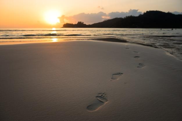Pegadas humanas na areia da praia.