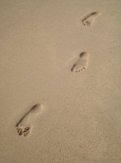 Pegadas na areia a impressão