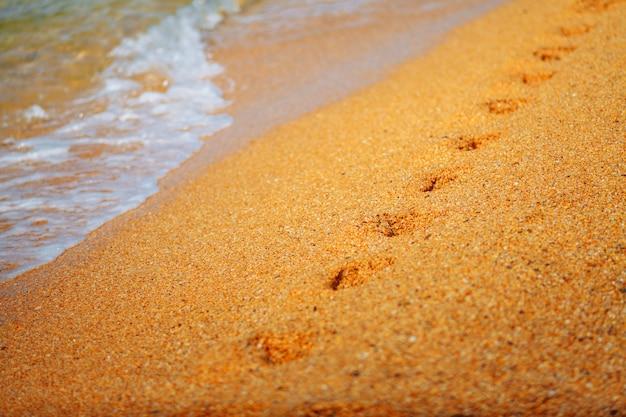 Pegadas na areia do mar. beira mar